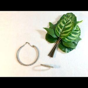 Crystal short necklace and bracelet set